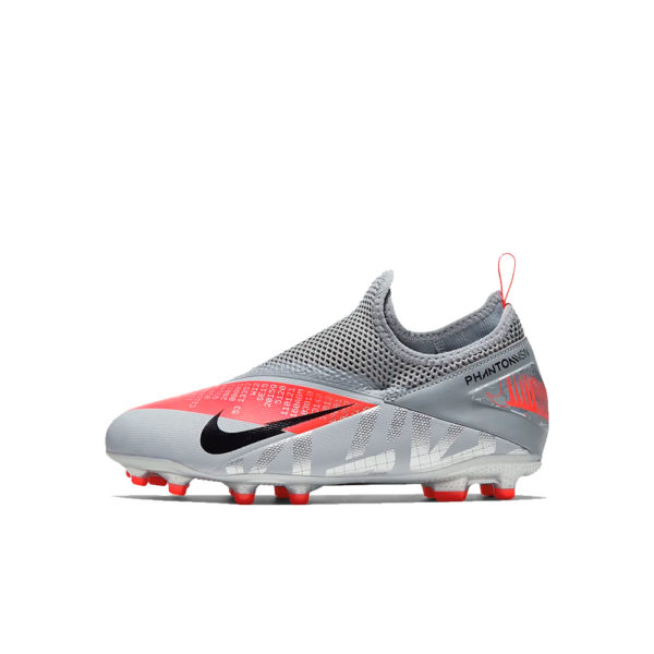 JR Nike Phantom Vision 2 Academy DF FG/MG - Bomber Grey/Crimson/Black image 1 | CD4059-906 | Global Soccerstore