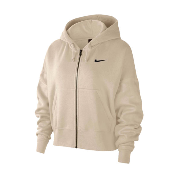 Women's Nike Sportswear Essential Full-Zip Fleece Hoodie - Oatmeal/Black image 1 | CK1505-140 | Global Soccerstore