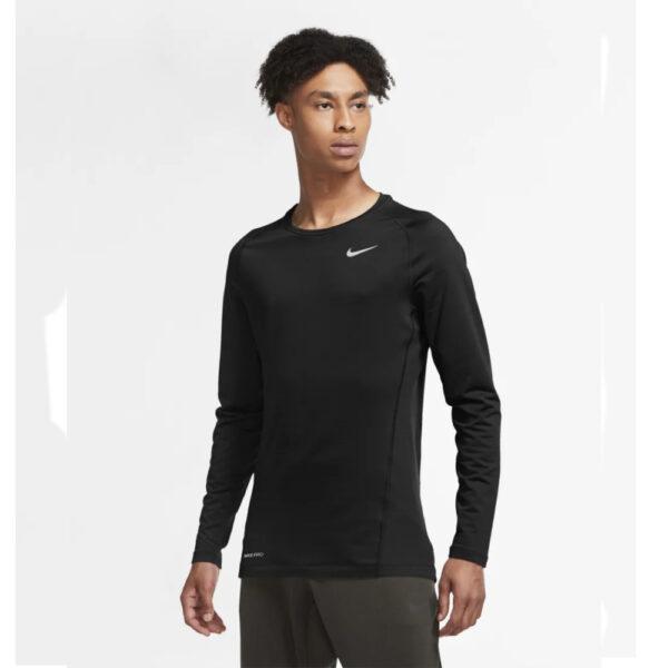 Nike Pro Warm Crew Top - Black/(White) image 1   CU6740-010   Global Soccerstore
