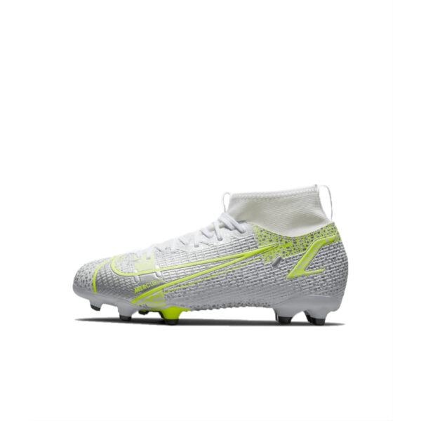 Jr Nike Mercurial Superfly 8 Academy FG/MG - White/Black-Mtlc-Silver-Volt image 1 | CV1127-107 | Global Soccerstore