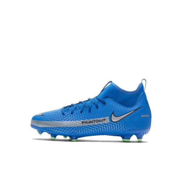 Jr Nike Phantom GT Academy DF FG/MG - Photo Blue/Metallic Silver/Rage Green/Black image 1 | CW6694-400 | Global Soccerstore