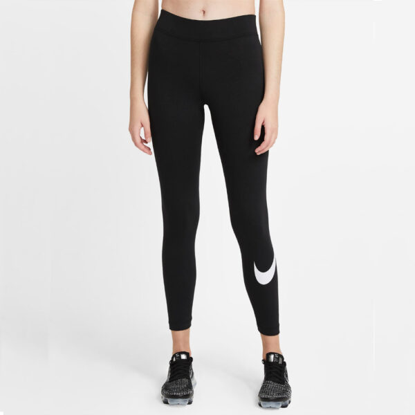 Women's Nike Sportswear Essential Swoosh Leggings - Black/(White) image 1 | CZ8530-010 | Global Soccerstore