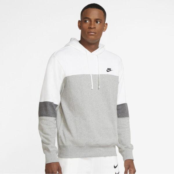 Nike Sportswear Pullover Hoodie - White/Dark Grey Heather/Charcoal Heather image 1 | CZ9976-100 | Global Soccerstore