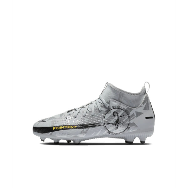 JR Nike Phantom GT Scorpion Academy DF FG/MG - Pure Platinum/Black/Speed Yellow/Metallic Silver image 1 | DA2287-001 | Global Soccerstore