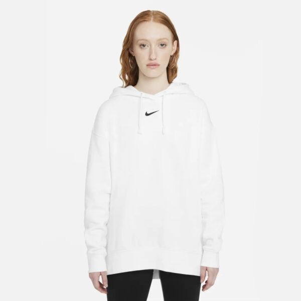 Women's Nike Sportswear Essential Fleece Hoodie - White/(Black) image 1 | DJ7668-100 | Global Soccerstore