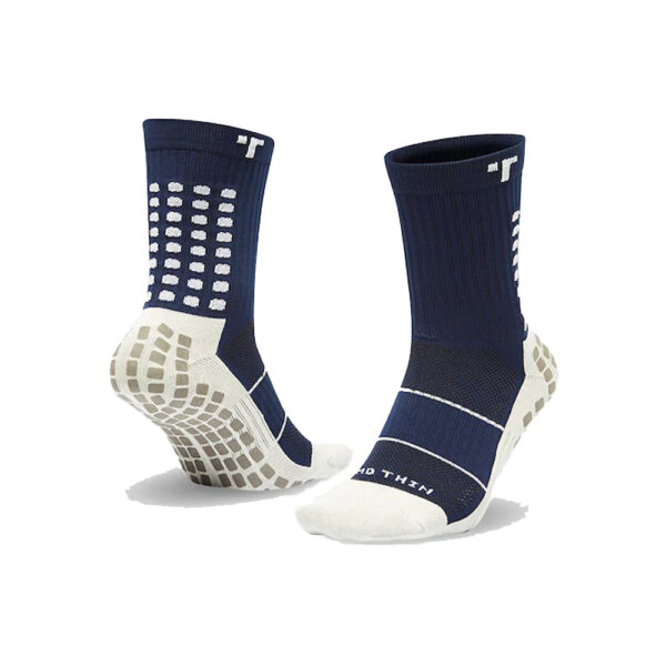 TRUSOX - Mid-Calf Thin - Navy with White Trademarks image 1 | TRUSOX-MID-THIN-NAVY | Global Soccerstore
